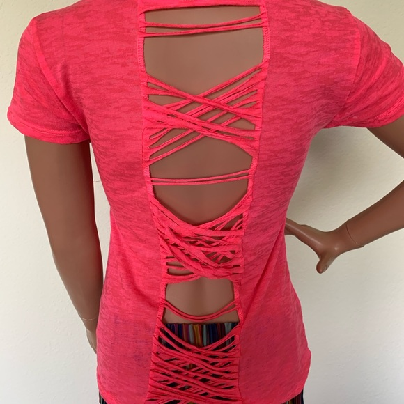 Material Girl Tops - Hot pink shear t-shirt cut out back size M
